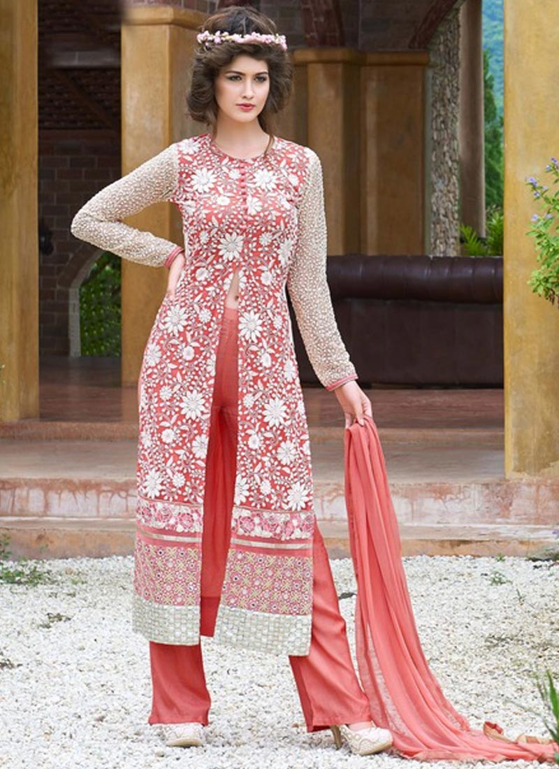 Voguish Mirror Work Net Pant Style Designer Suit