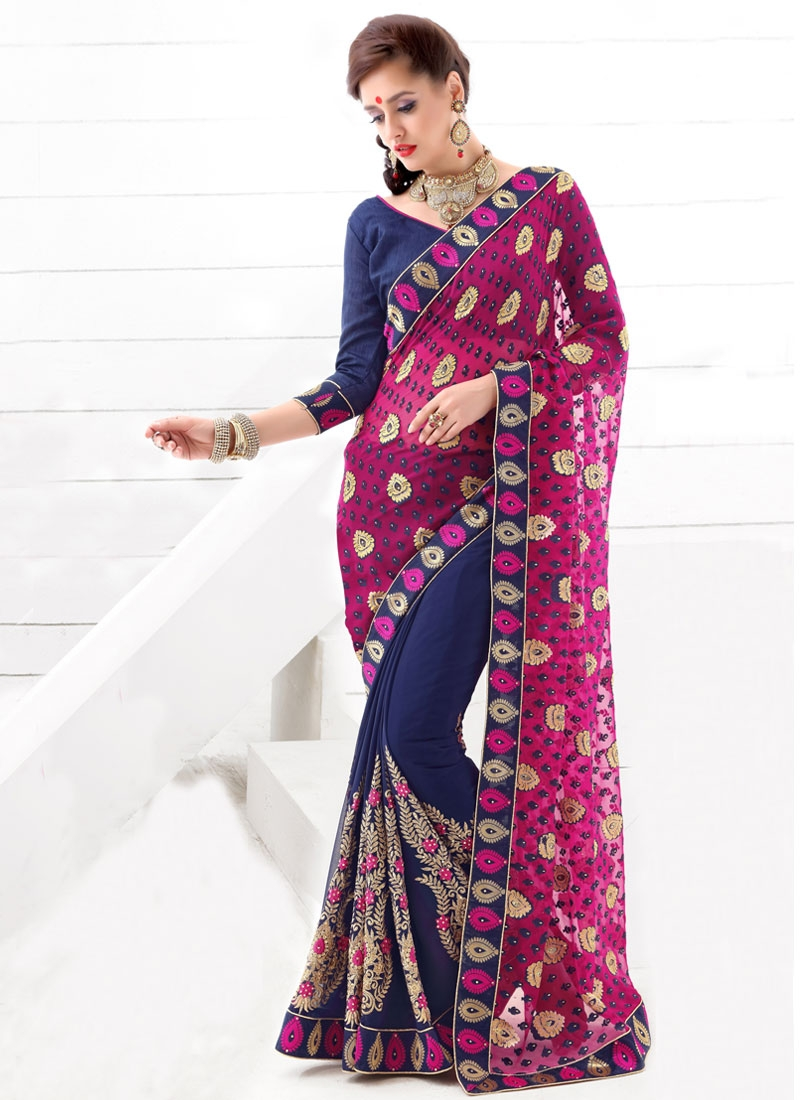 Voguish Navy Blue Color Half N Half Party Wear Saree
