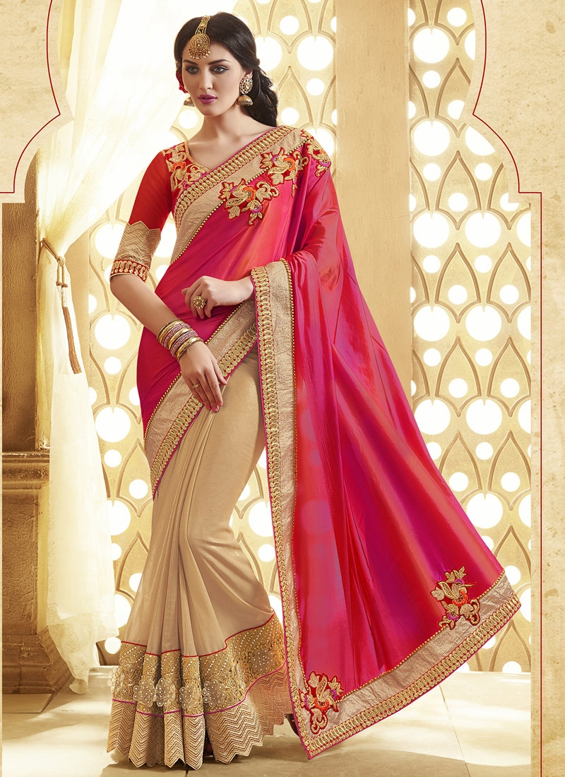 Voguish Patch Border Work Half N Half Designer Saree