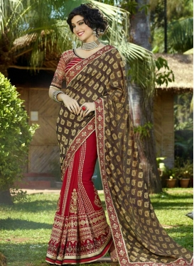 Voguish Patch Border Work Half N Half Wedding Saree