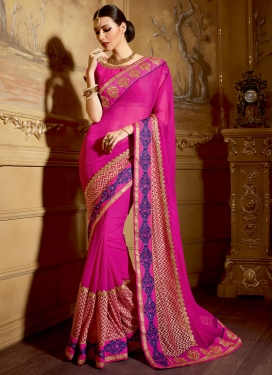 Voguish Patch Border Work Rose Pink Color Wedding Saree