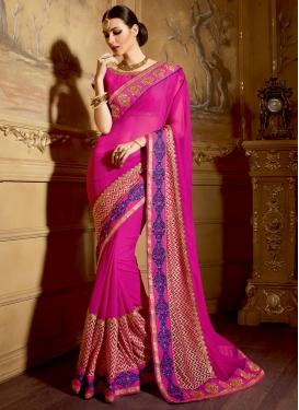 Voguish Patch Border Work Rose Pink Color Wedding Saree