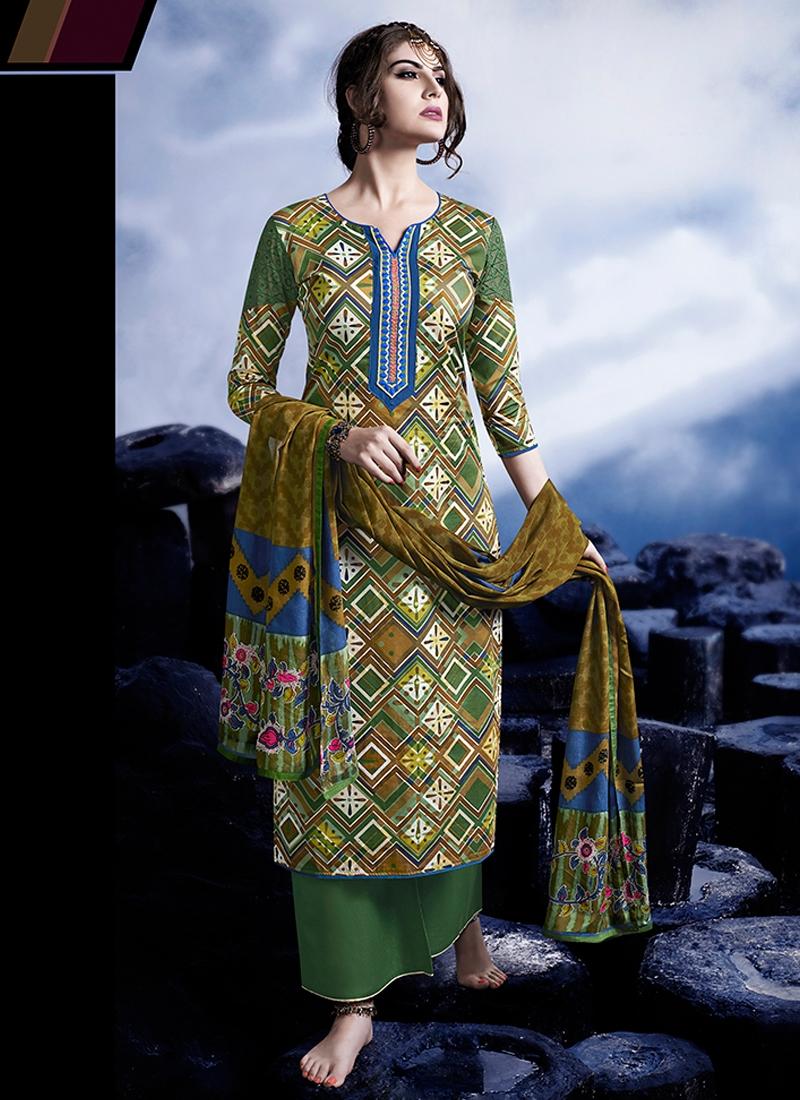 Voguish Resham Work Satin Palazzo Style Pakistani Suit