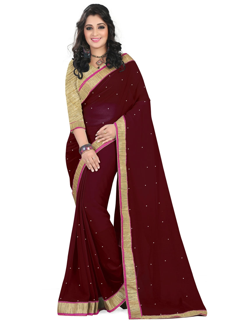 Voguish Stone And Lace Work Faux Georgette Casual Saree