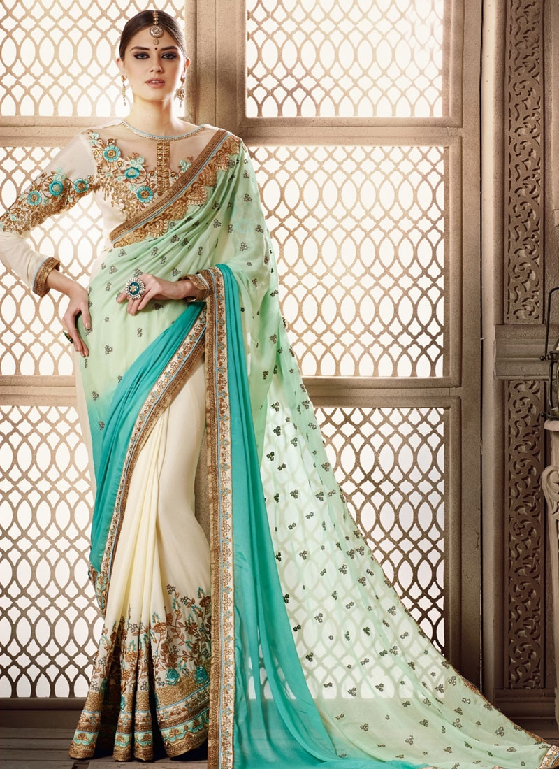 Voluptuous Aqua Blue Color Lace Work Half N Half Wedding Saree