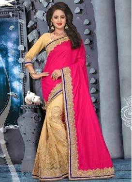 Voluptuous Beige and Rose Pink  Art Raw Silk Half N Half Saree