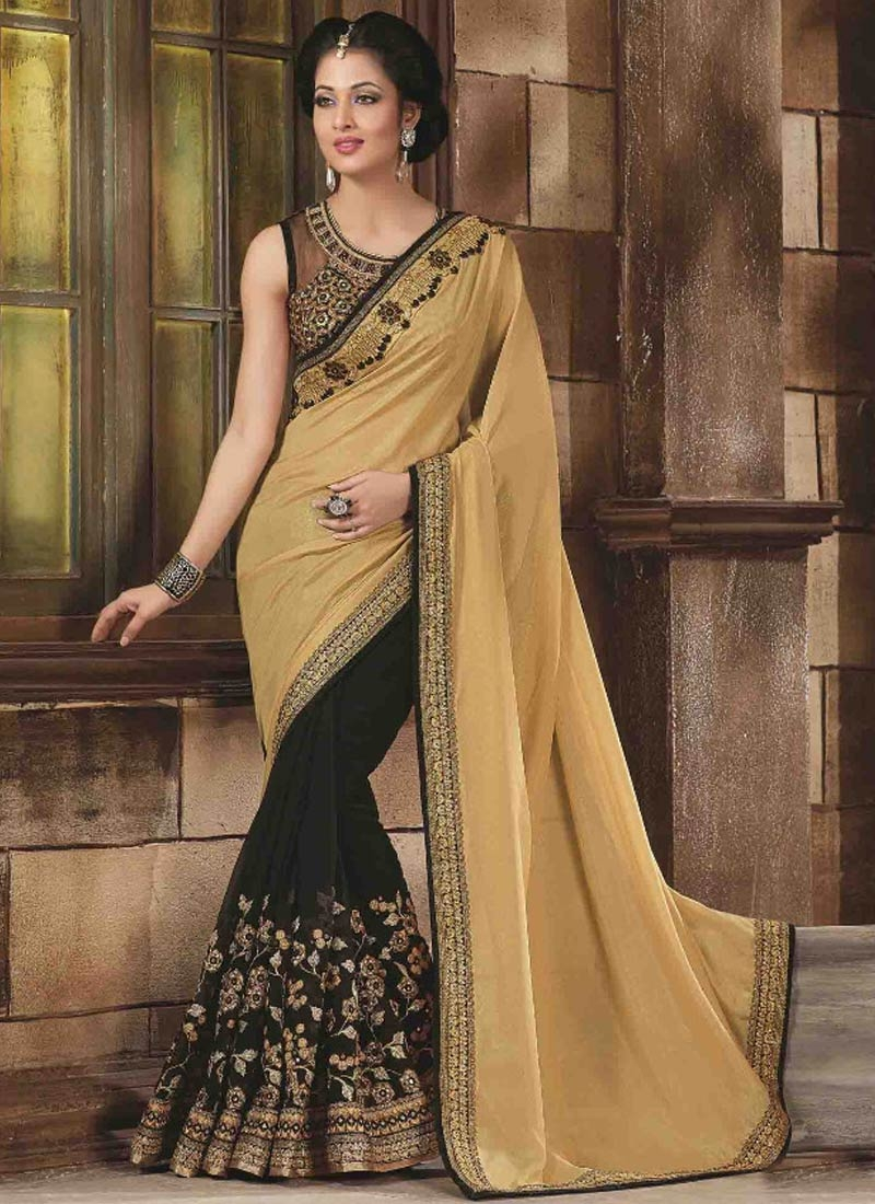Voluptuous Black Color Embroidery Work Half N Half Designer Saree