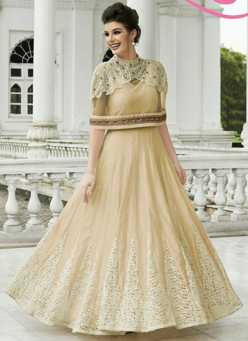 Voluptuous Cream Color Stone Work Ankle Length Designer Suit