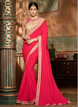 Voluptuous Embroidered Work Crepe Silk Traditional Designer Saree For Ceremonial