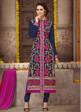 Voluptuous Fuchsia and Navy Blue Embroidered Work Faux Georgette Straight Salwar Kameez