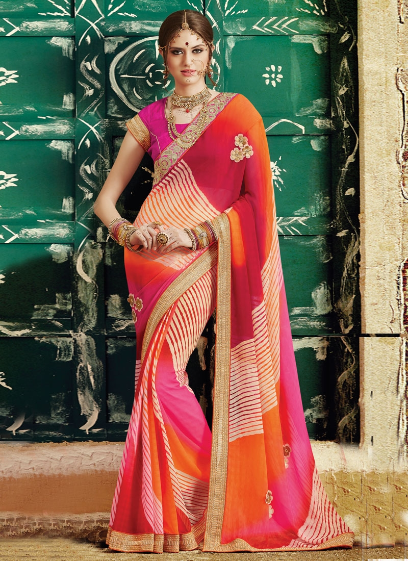 Voluptuous Lace And Sequins Work Party Wear Saree