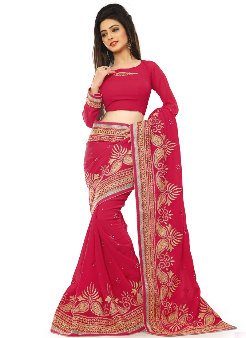 Voluptuous Lace Work Faux Georgette Party Wear Saree
