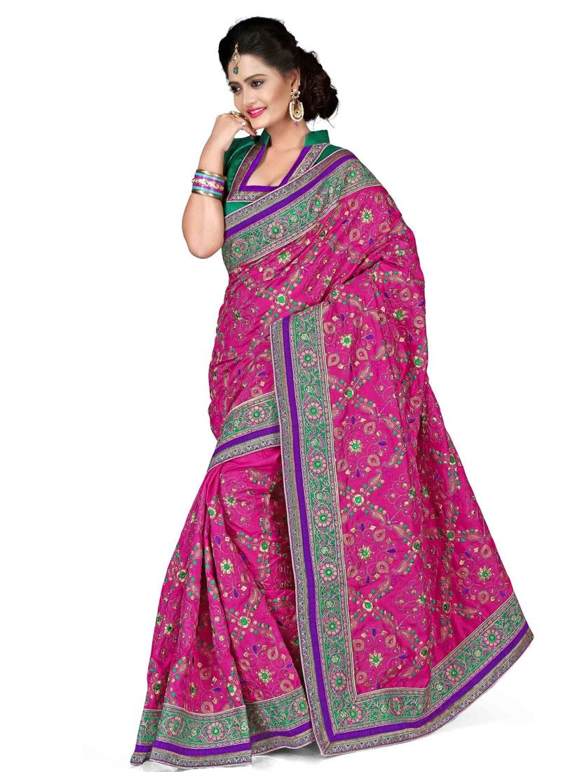 Voluptuous Lace Work Rose Pink Color Designer Saree