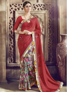 Voluptuous Maroon and Navy Blue  Half N Half Saree