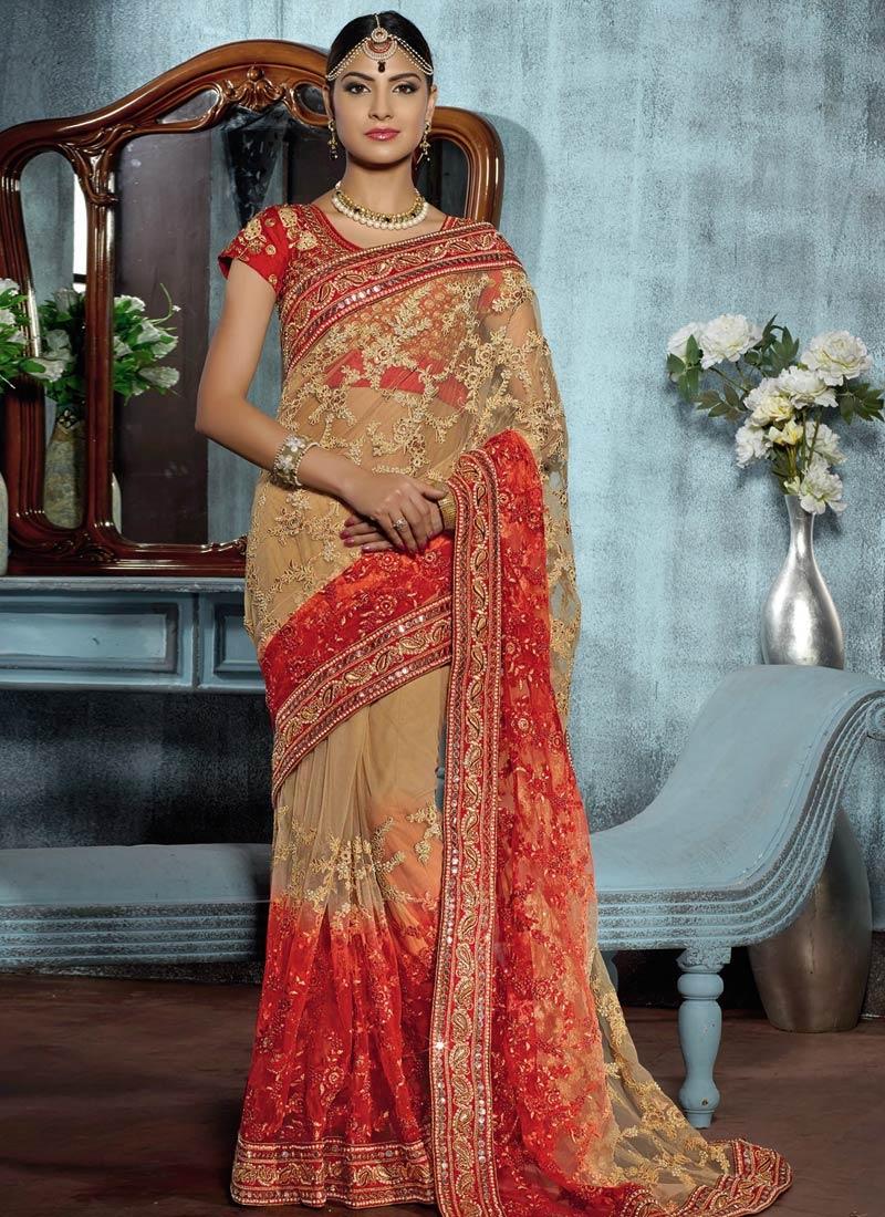 Voluptuous Mirror And Stone Work Wedding Saree