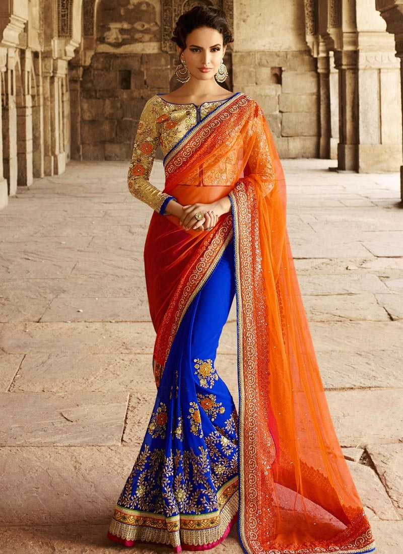 Voluptuous Beads And Sequins Work Half N Half Bridal Saree