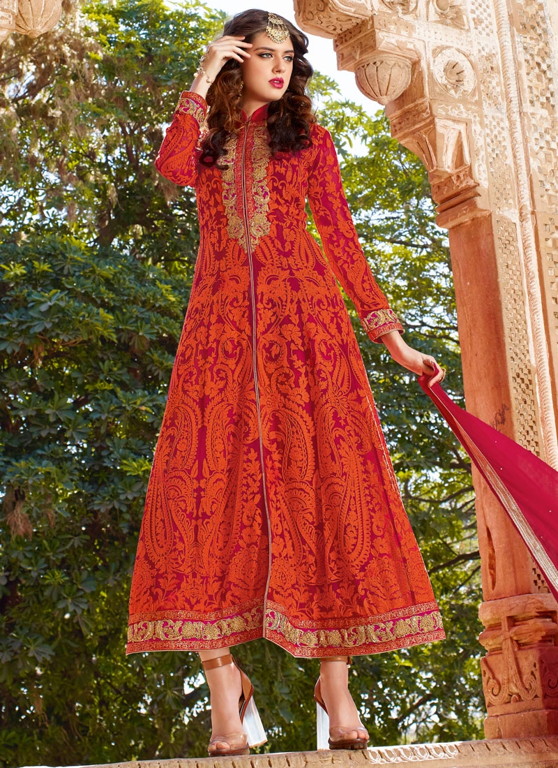 Voluptuous Embroidery Work Ankle Length Wedding Salwar Kameez