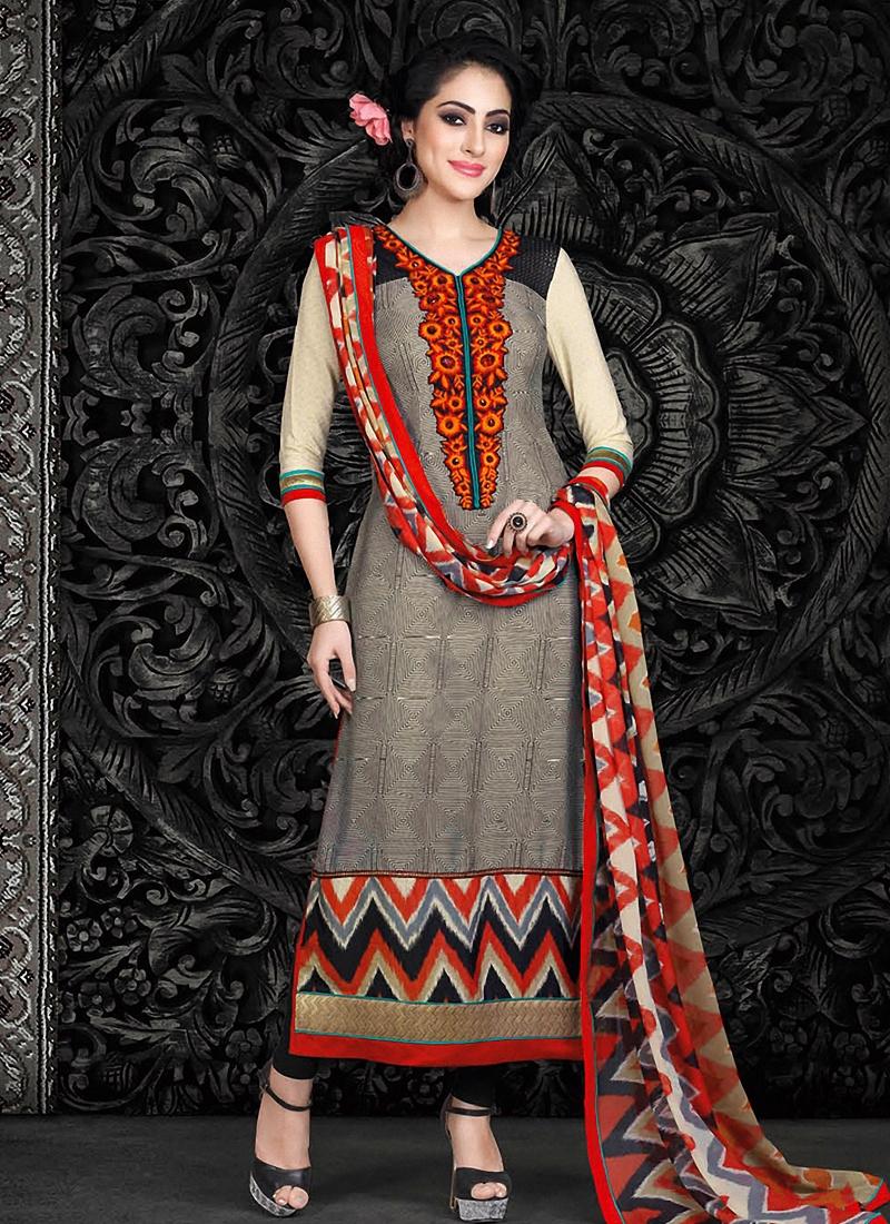 VoluptuousFloral Work Pant Style Pakistani Suit