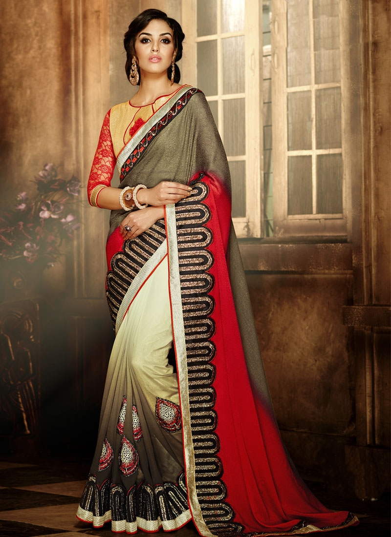 Voluptuous Jacquard Lace Work Party Wear Saree