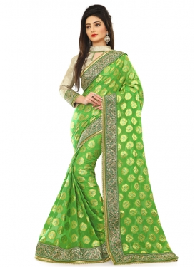 Voluptuous Lace Work Mint Green Color Designer Saree