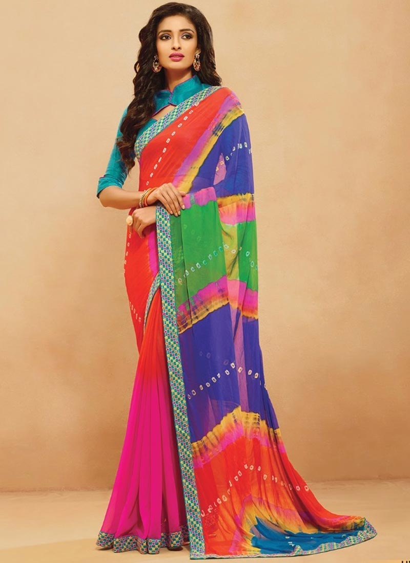 Voluptuous Multi Color Lace Work Casual Saree