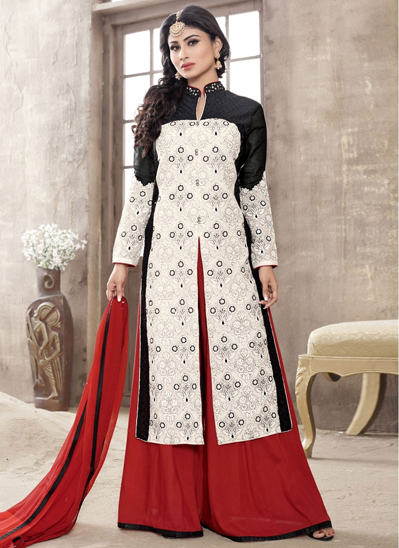 Voluptuous Off White Color Mouni Roy Palazzo Style Party Wear Salwar Suit