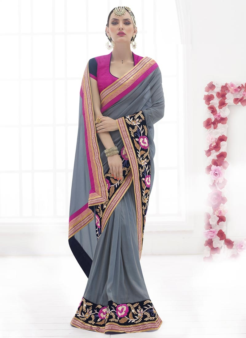 Voluptuous Patch Border Work Designer Saree