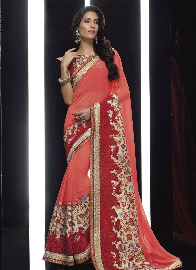Voluptuous Patch Border Work Faux Chiffon Designer Saree