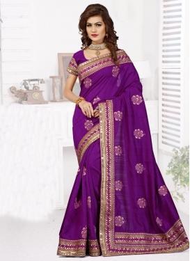 VoluptuousPurple Color Bhagalpuri Silk Designer Saree