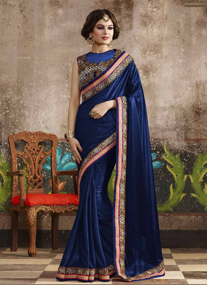 Voluptuous Stone Work Lycra Party Wear Saree