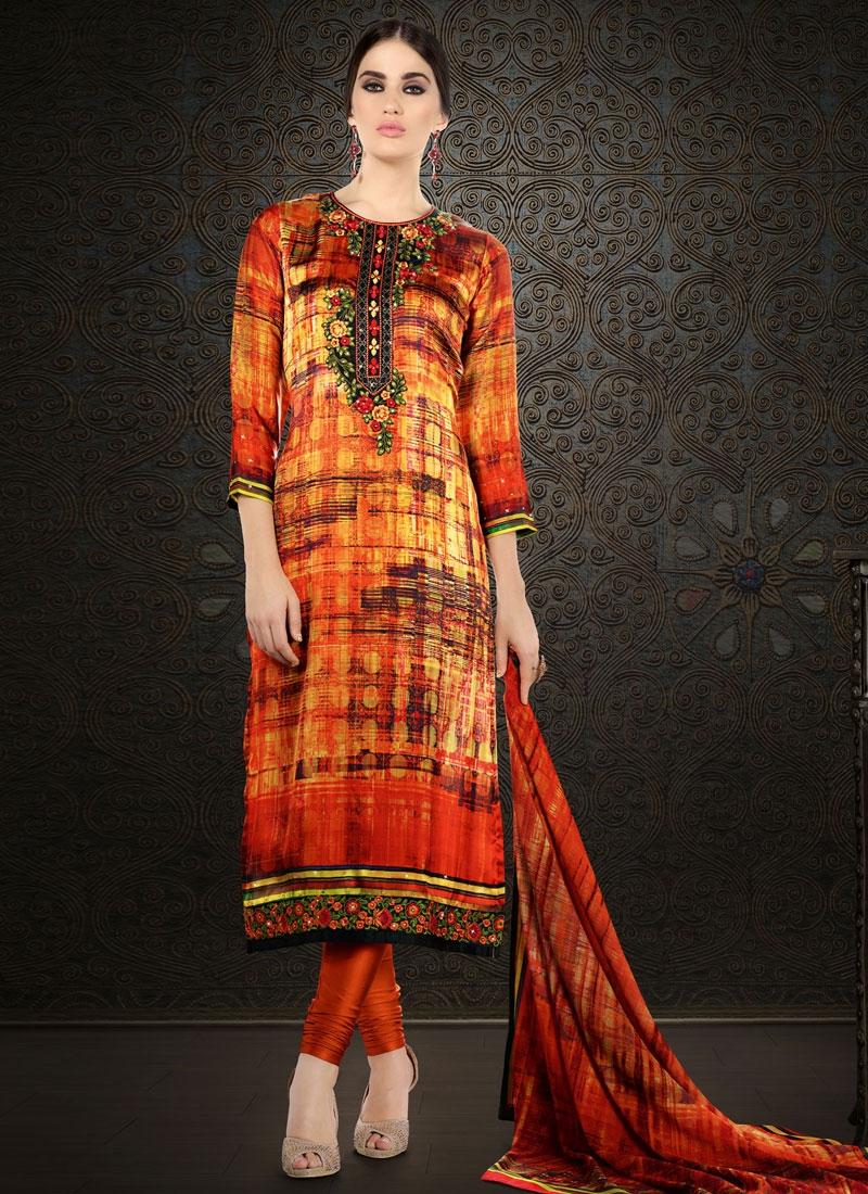 Voluptuous Orange Color Resham Work Party Wear Salwar Suit
