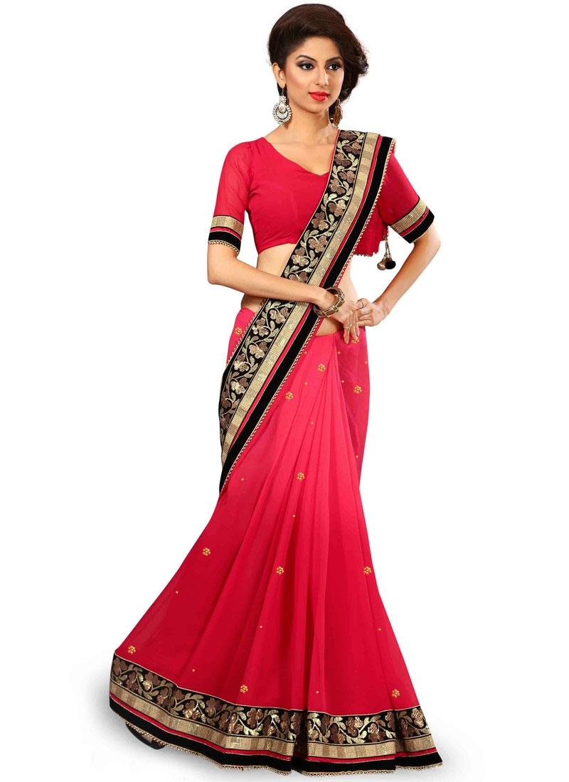 Voluptuous Rose Pink Color Viscose Designer Saree