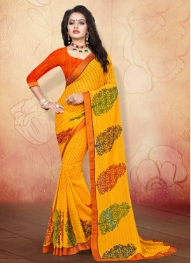 Weight Less Lace Work Orange and Yellow Trendy Saree