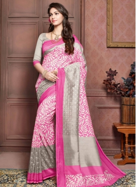 Whimsical Art Silk Resham Work Party Wear Saree