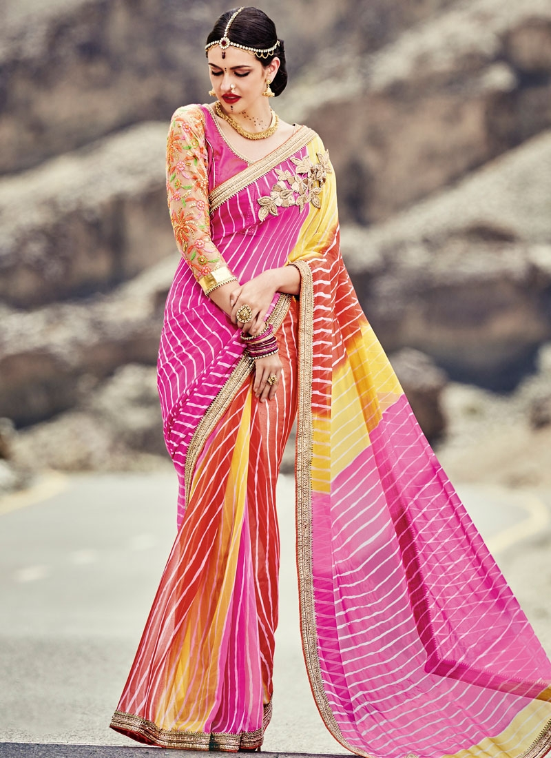 Whimsical Bandhej Print Work Party Wear Saree