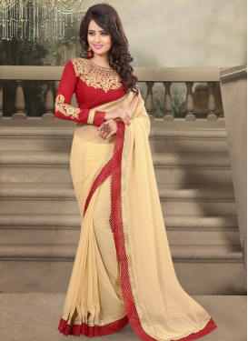Whimsical Beige Color Party Wear Saree