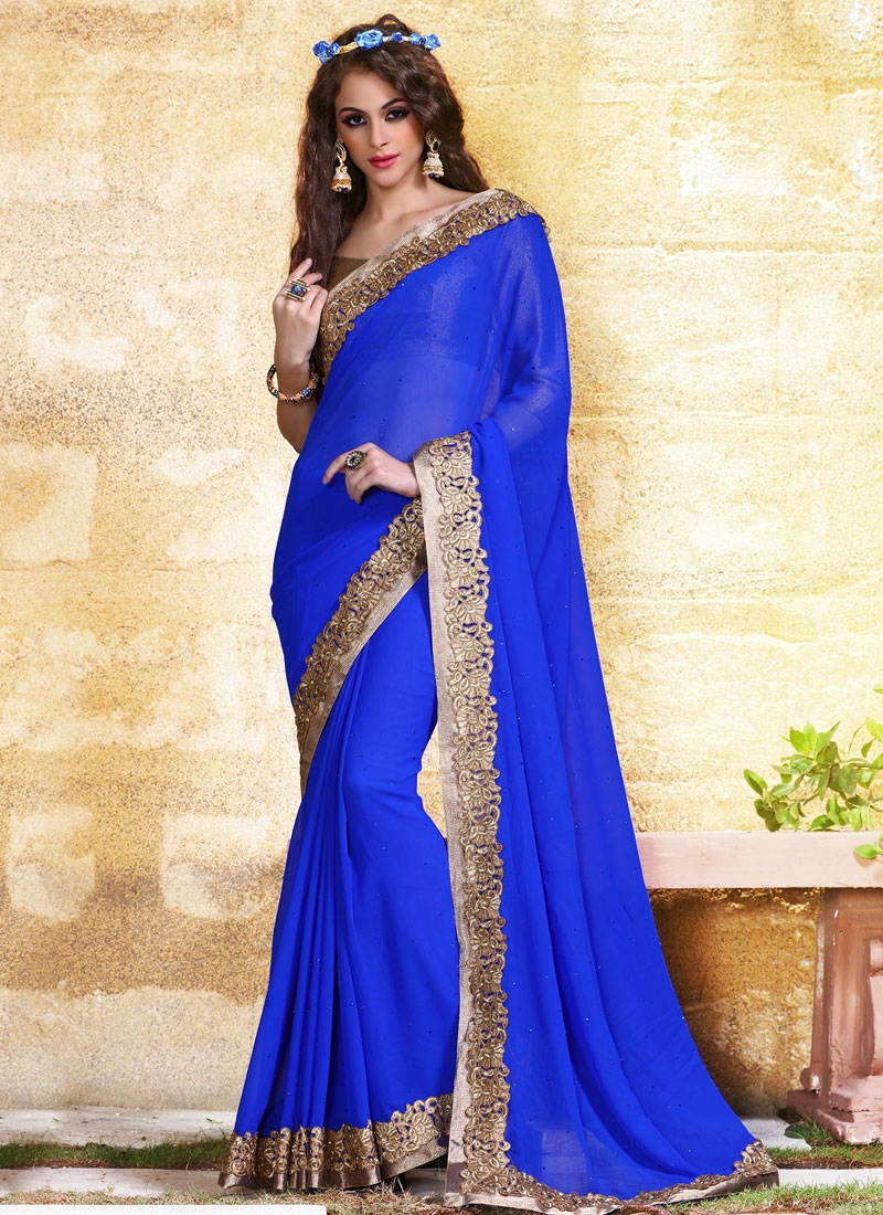 Whimsical Blue Color Party Wear Saree