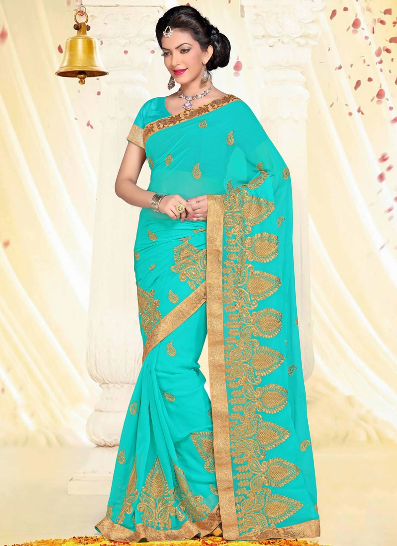 Whimsical Booti Work Turquoise Color Designer Saree