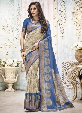 Whimsical Cream and Light Blue Resham Work Art Silk Traditional Designer Saree For Ceremonial
