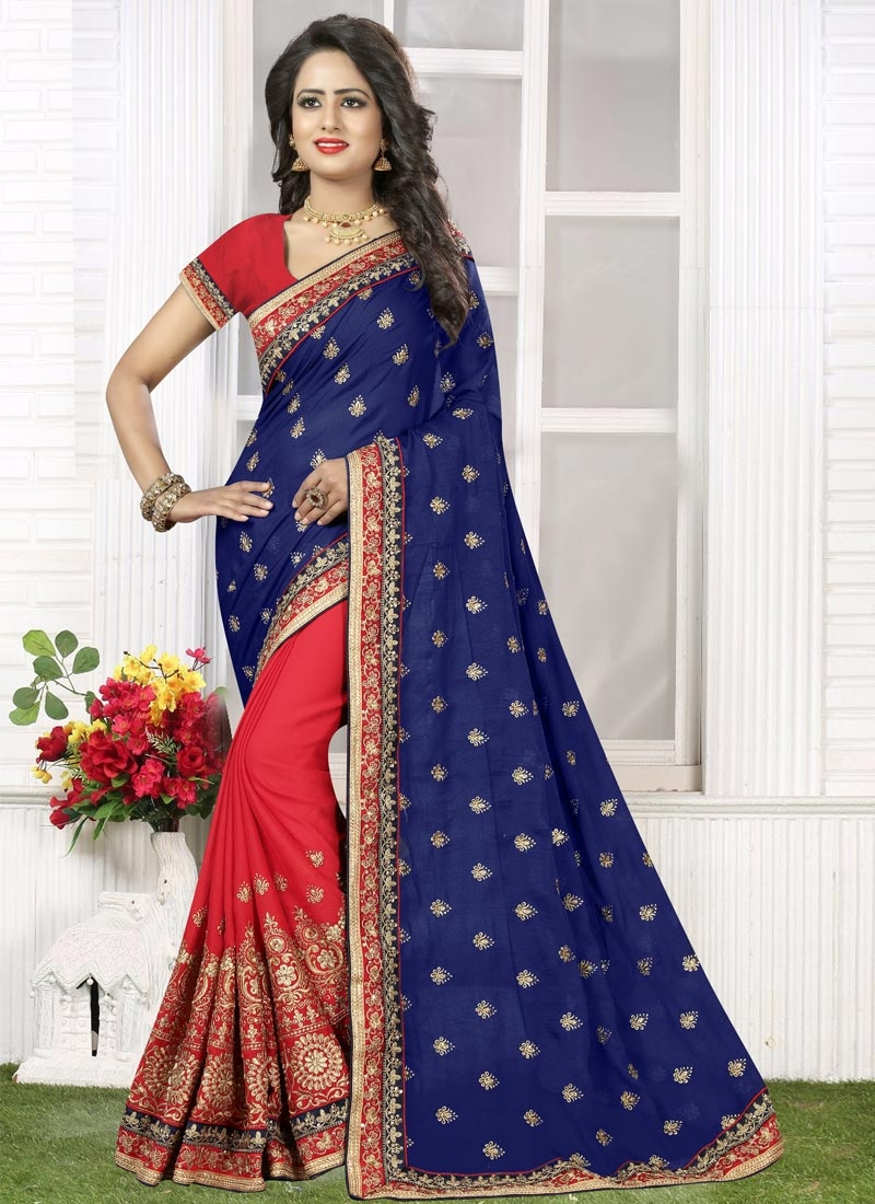 Whimsical  Embroidered Work Navy Blue and Red Half N Half Designer Saree