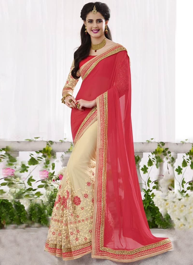 Whimsical Embroidery Work Half N Half Wedding Saree