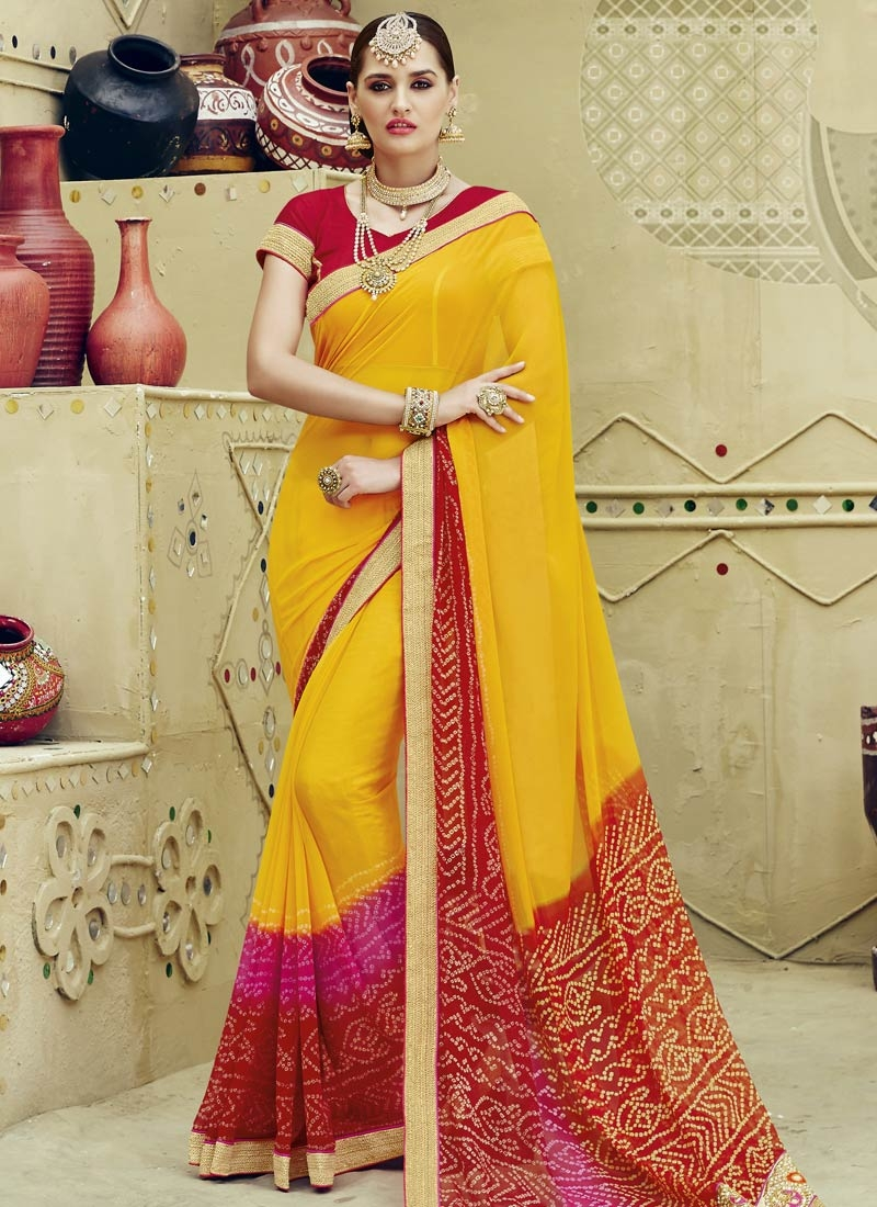 Whimsical Faux Chiffon Yellow Color Party Wear Saree