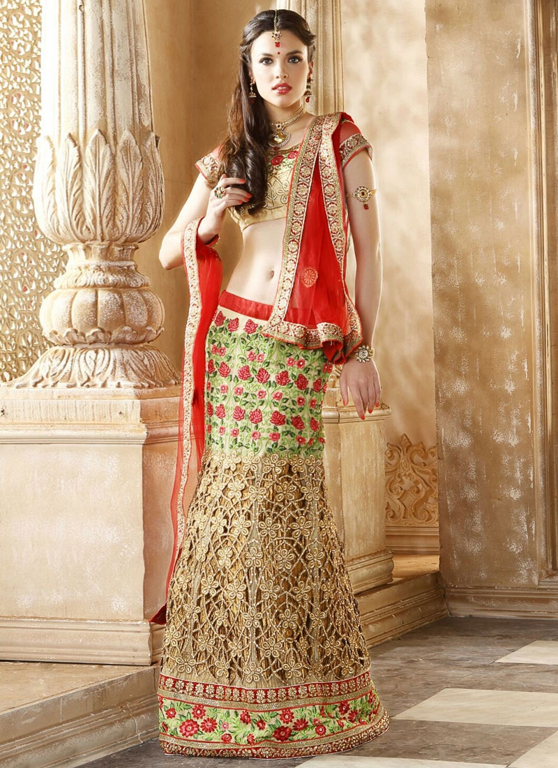 Whimsical Floral And Cut Work Bridal Lehenga Choli