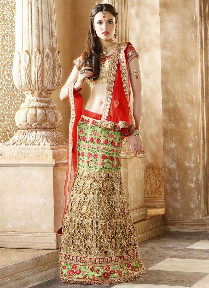 Whimsical Floral And Cut Work Bridal Lehenga Choli