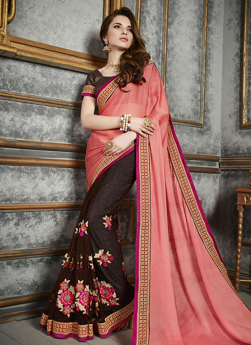 Whimsical Floral And Lace Work Half N Half Party Wear Saree