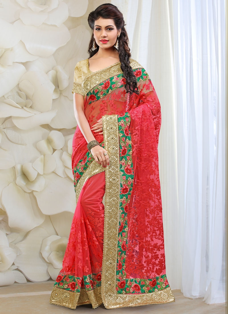 Whimsical Floral Work Red Color Bridal Saree