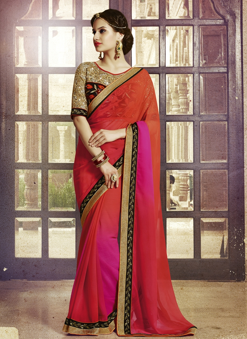 Whimsical Lace And Stone Work Party Wear Saree