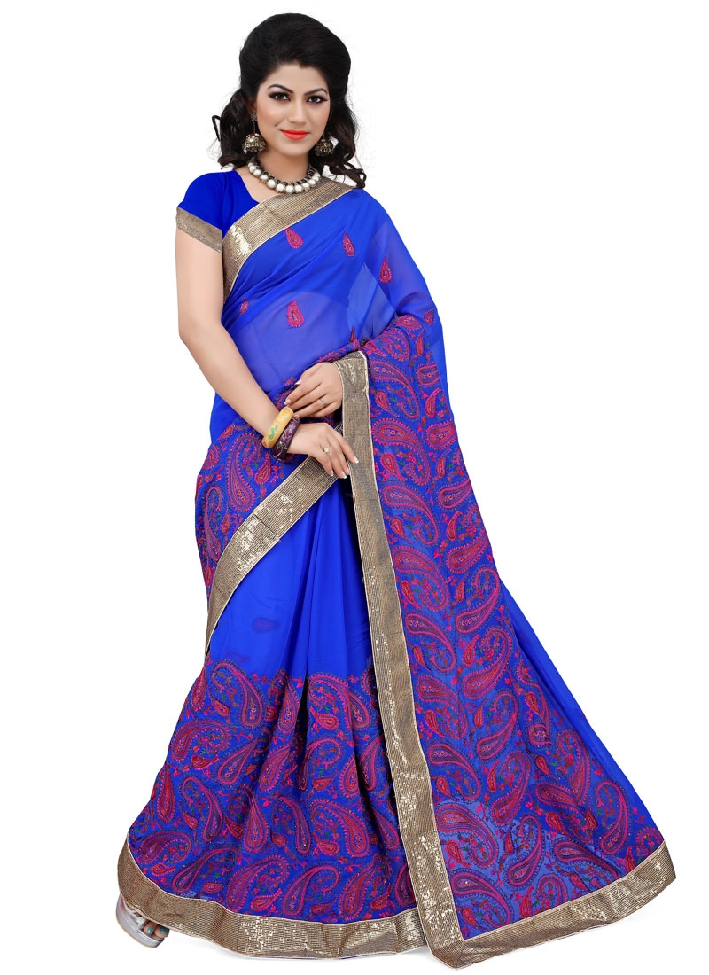 Whimsical Lace Work Blue Color Wedding Saree
