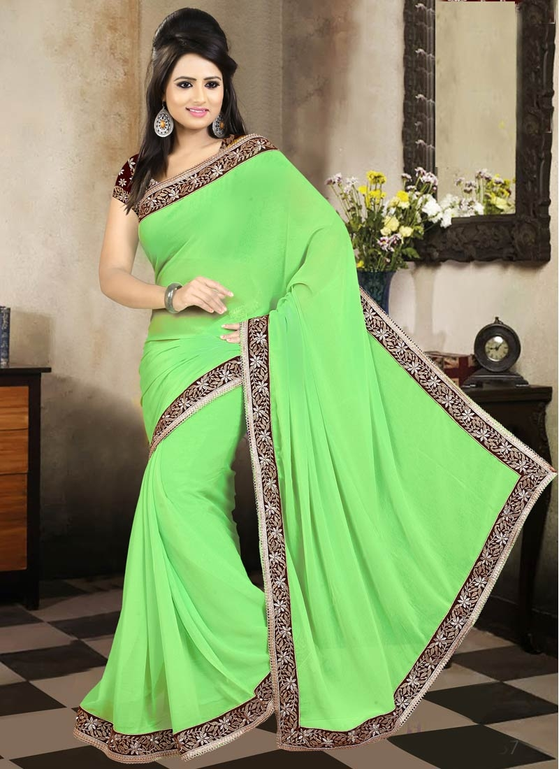 Whimsical Mint Green Color Casual Saree