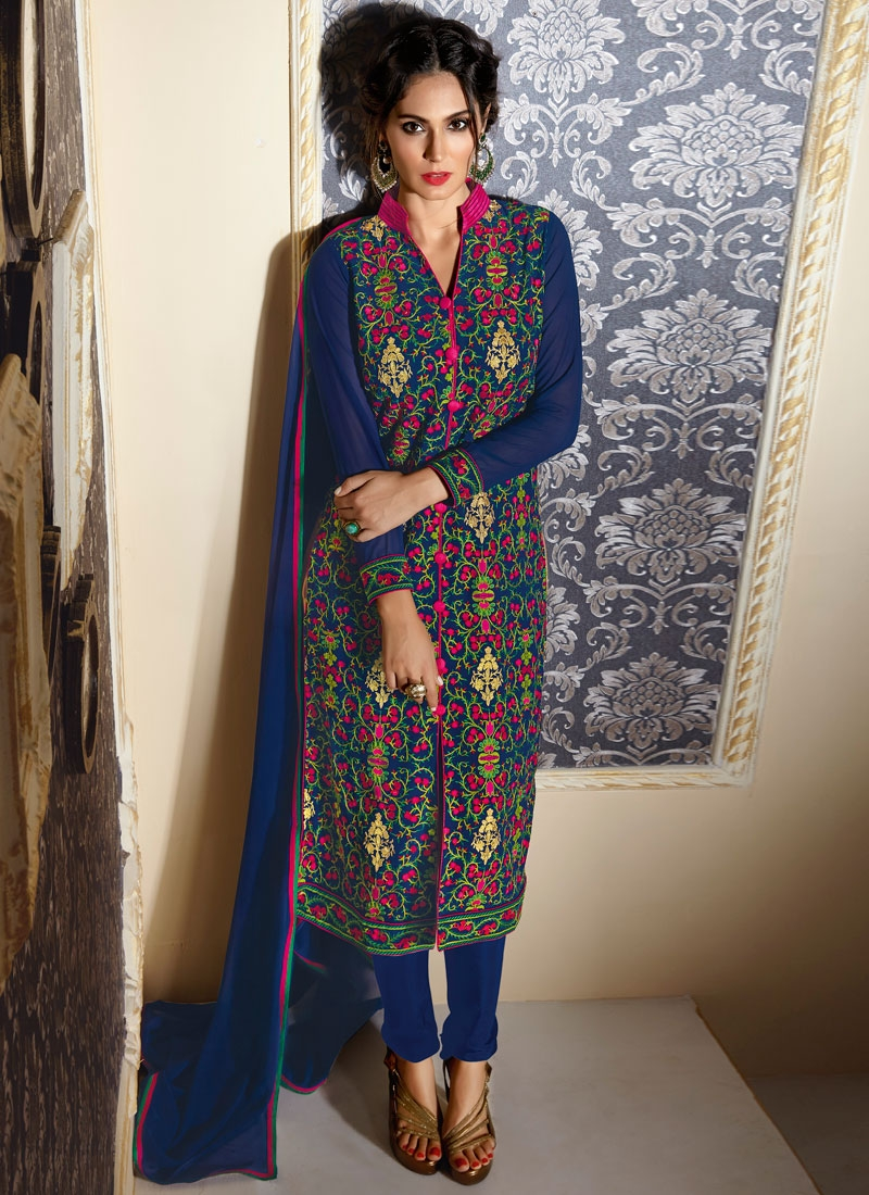 Whimsical Navy Blue Color Resham Work Designer Suit